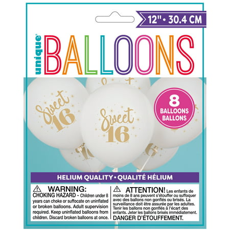 Sweet 16 Theme (Latex Gold Script Sweet 16 Balloons, White, 12 in,)