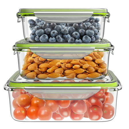 Glass Food Storage Containers-6-Pc. Set with Snap on Lids-Multi-Size Square Prep Bowls- Microwave, Dishwasher and Refrigerator Safe by Classic Cuisine ()