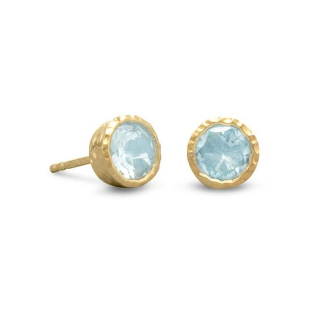 Precious Stars 65612 14K Gold Plated Sterling Silver Round-Cut Blue Topaz Earring Studs