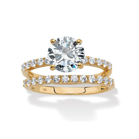 - Round Cubic Zirconia 2-Piece Wedding Ring Set 2.58 TCW in Solid 10k Yellow Gold