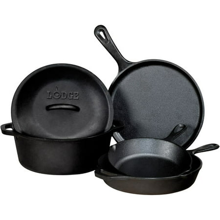 Lodge Logic 5-Piece Seasoned Cast Iron Set L5HS3, 5-Piece Set