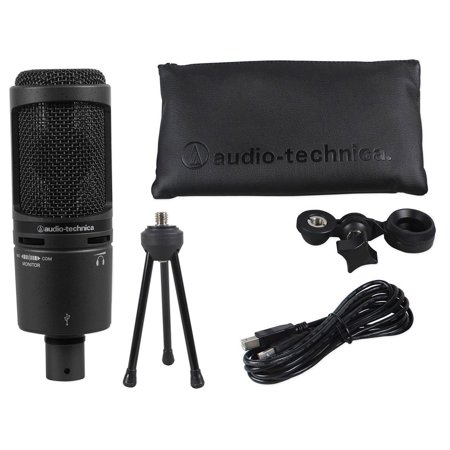 Audio Technica AT2020USB+ PLUS USB Recording Mic w/Headphone Output +Mix Control Audio Technica Recording Package