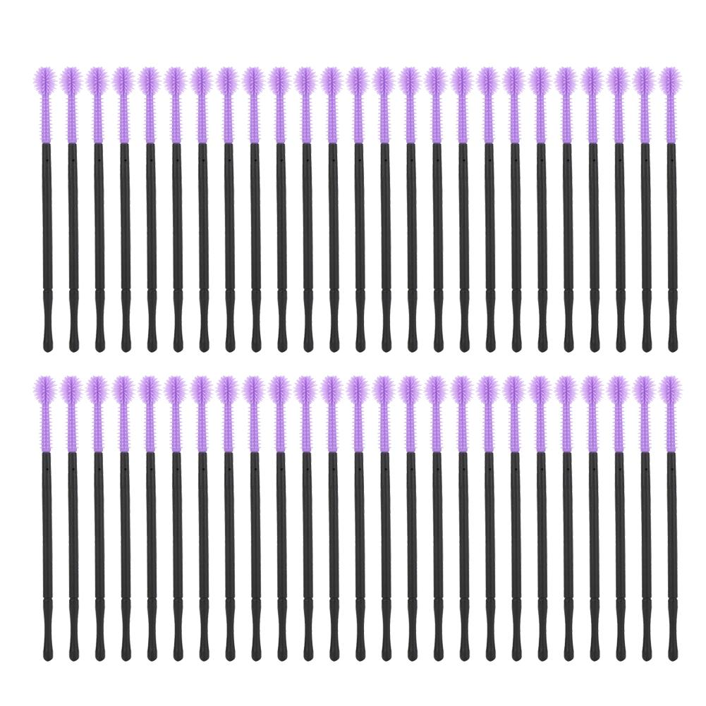 Yosoo 50pcs Silicone Eyelash Brush Disposable Eyelashes Comb Mascara Applicator Makeup Beauty Tool,Eyelash Comb, Eyelash Brush