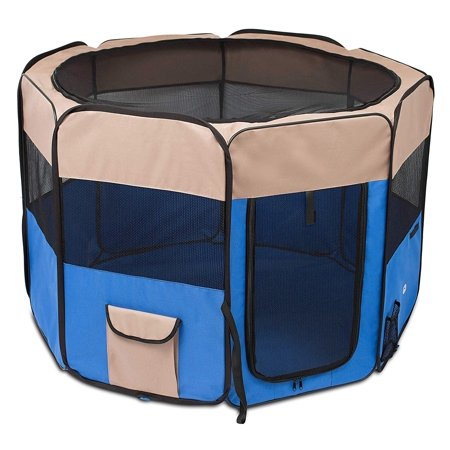 BIRDROCK HOME Internet's Best Soft Sided Pet Playpen   Large   Portable Puppy Pet Enclosure   Dog or Cat   Indoor Outdoor Mesh Kennel   Easy Travel   Folding and Collapsible Cage   Blue and