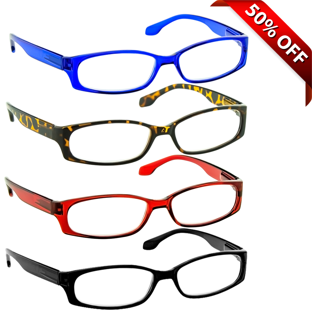 Reading Glasses +1.50 | 4 Pack of Readers for Men and Women | Black Tortoise Red Blue