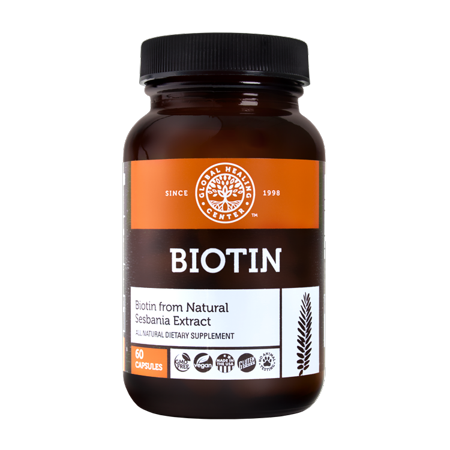 Global Healing Center Biotin Supplement from Natural, Organic Sesbania Extract for Healthy Hair & Nails - 60 Day Supply 2,500 (Para Que Sirve El Biotin 2500 Mcg)