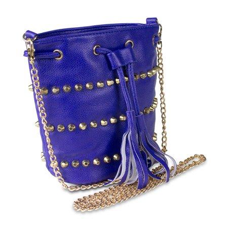 Drawstring Hobo Bag - Mad Style Studded Drawstring Crossbody Bag, Blue
