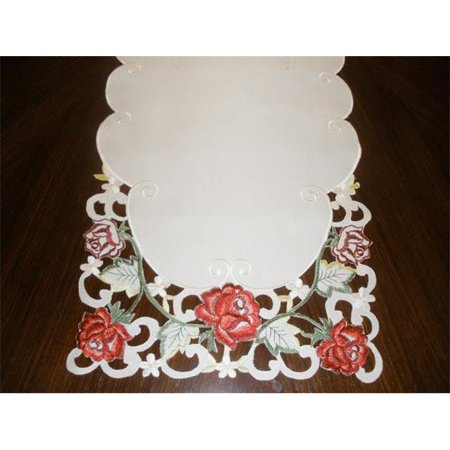 Ivory Table Runner (Tapestry Trading MH10938-1454 14 x 54 inch Embroidered Red Rose And Lacy Cutwork Table Runner,)