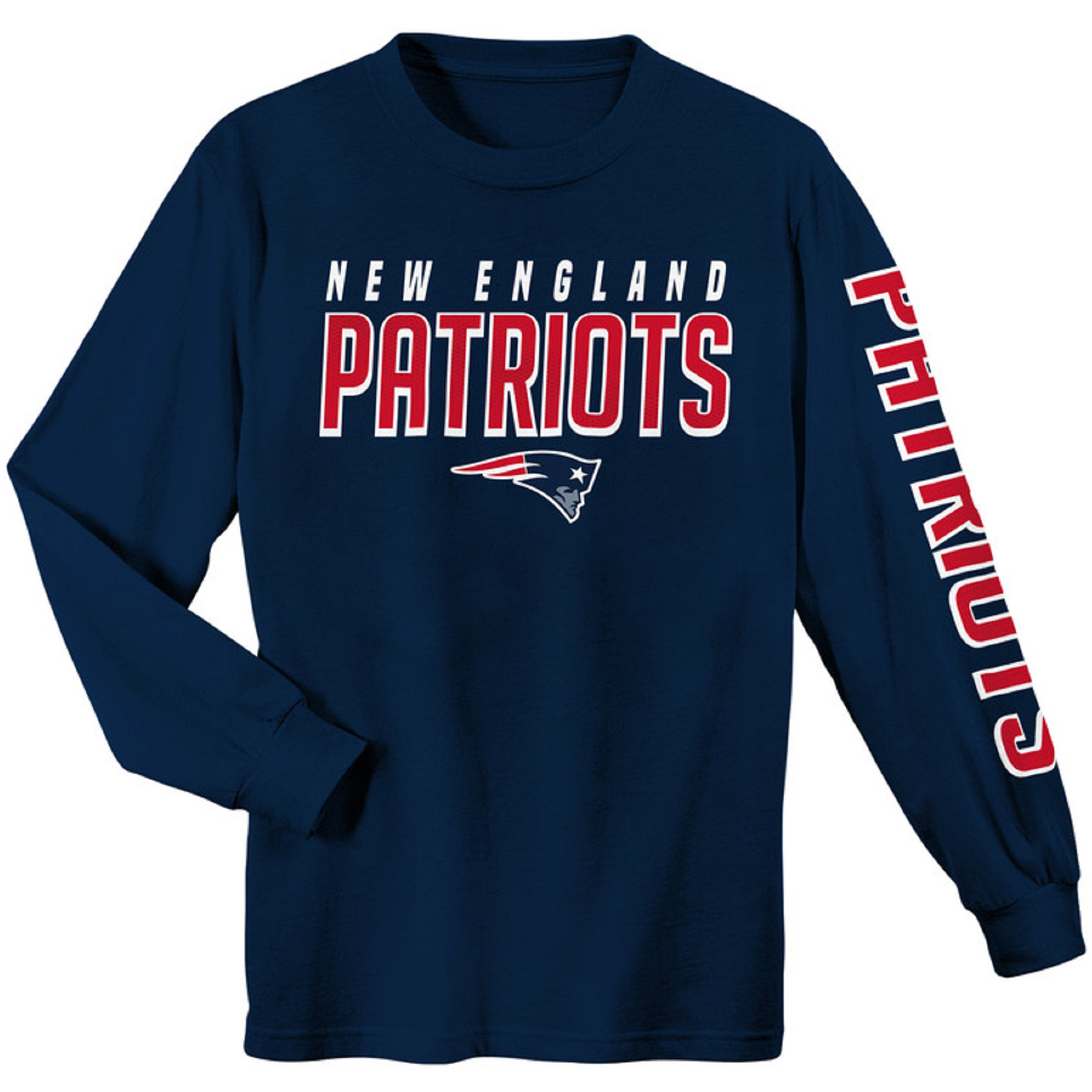 Youth Navy New England Patriots Sleeve Hit Long Sleeve T-Shirt