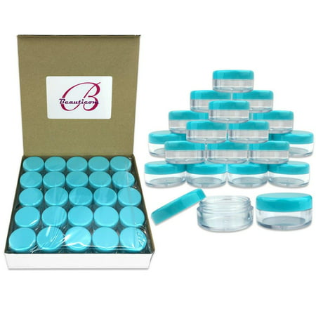 Beauticom 50 Pieces High Quality 5 Gram 5 Ml  0 17 Oz  Acrylic Round Cosmetic Beauty Makeup Sample Jars With Teal Lids