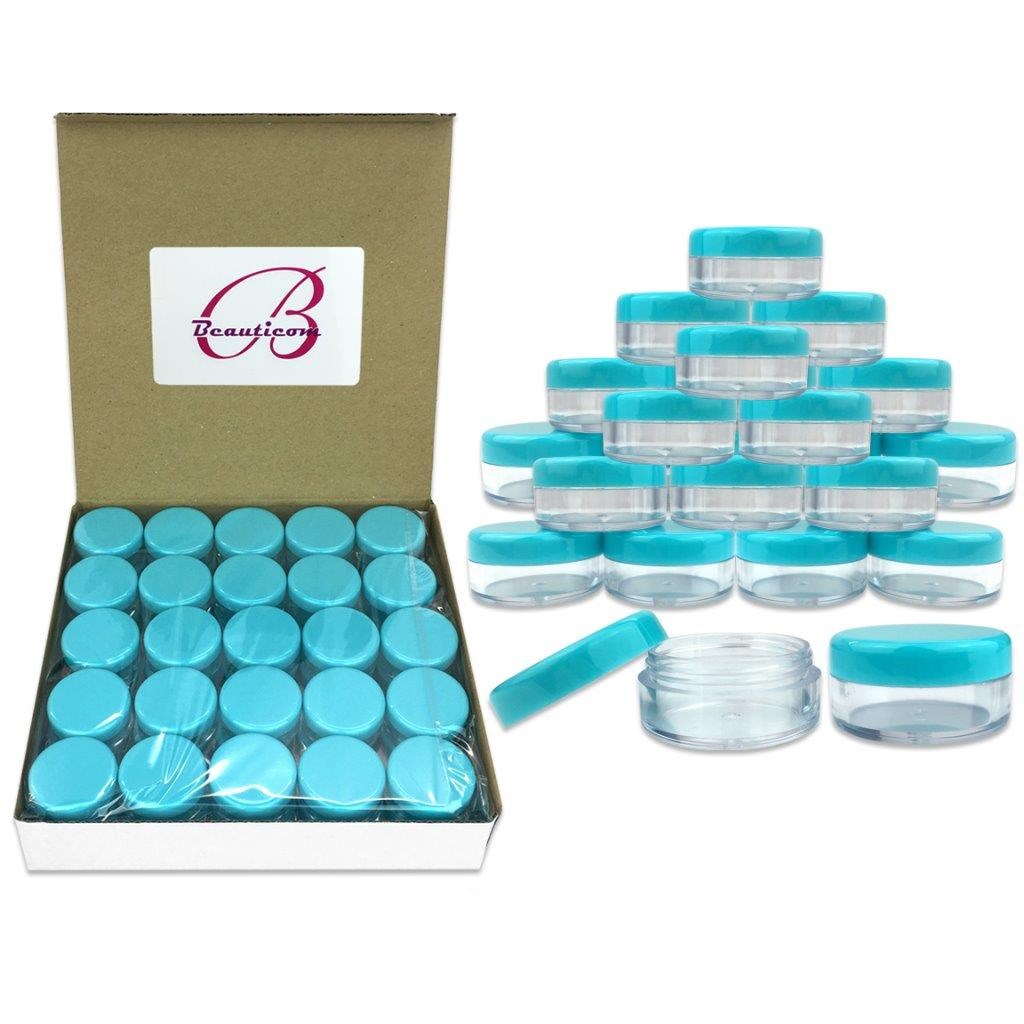 Beauticom 50 Pieces High Quality 5 Gram 5 ml (0.17 oz) Acrylic Round Cosmetic Beauty Makeup Sample Jars with Teal Lids