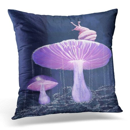 ARHOME Blue Dark of Snail on Glowing Mushrooms Pink Glow Pillows case 18x18 Inches Home Decor Sofa Cushion Cover Blue Glowing Fantasy Mushrooms