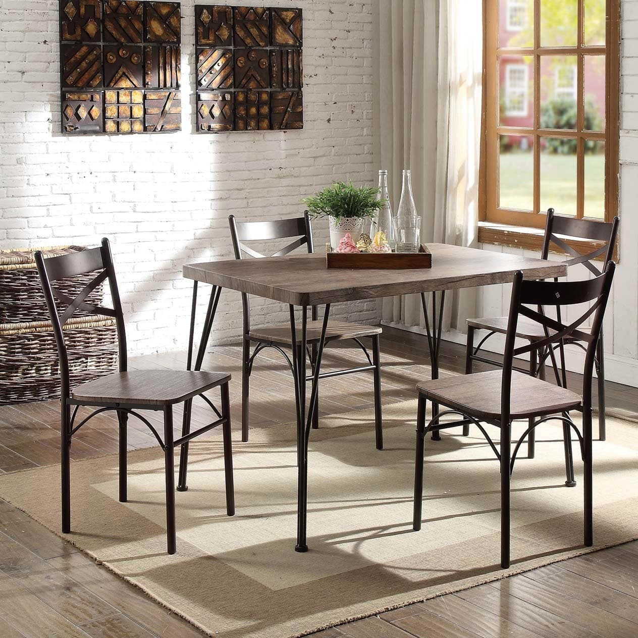 Furniture of America  Hathway Industrial 5-piece Dark Bronze Small Dining Set