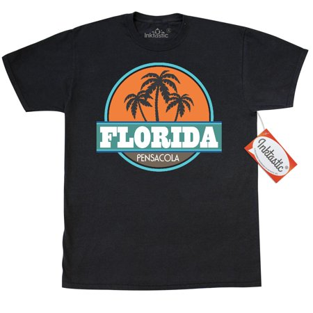 Inktastic Pensacola Florida Vintage T-Shirt Beach Palm Tree Retro Summer Vacation Travel Hometown Town City Cities Cool States Floridian Pride Mens Adult Clothing Apparel Tees T-shirts