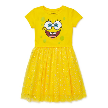 SpongeBob Girls' 4-12 Foil Mesh Tutu Dress