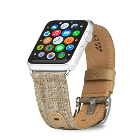 Tweed Tab (Evutec Band Compatible with Apple Watch Band 38mm 40mm, Genuine Leather iWatch Replacement Strap Series 4, Series 3, Series 2, Series1- (Tweed Tan) )