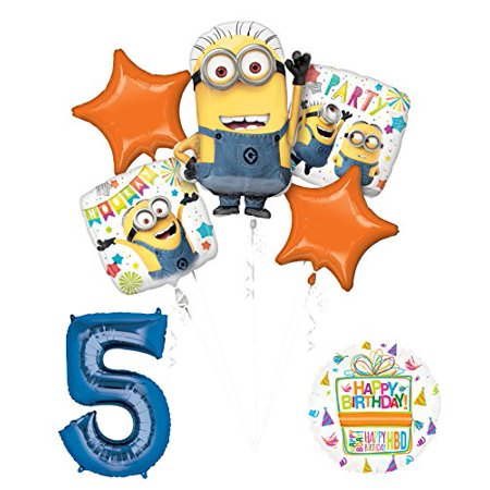 Despicable Me 3 Minions 5th Birthday Party Supplies and balloon Decorations - Minion Ballons