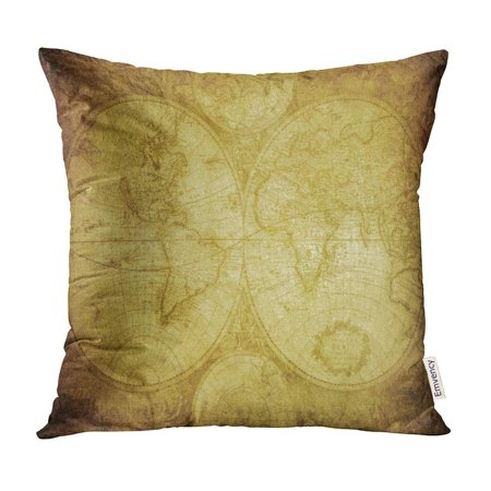 BOSDECO Old Vintage Map of The World 1675 Antique Europe Ancient Pillow Case Pillow Cover 20x20 inch - image 1 de 1