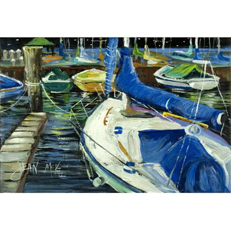 Night On The Docks Sailboat Fabric Placemat - image 1 de 1