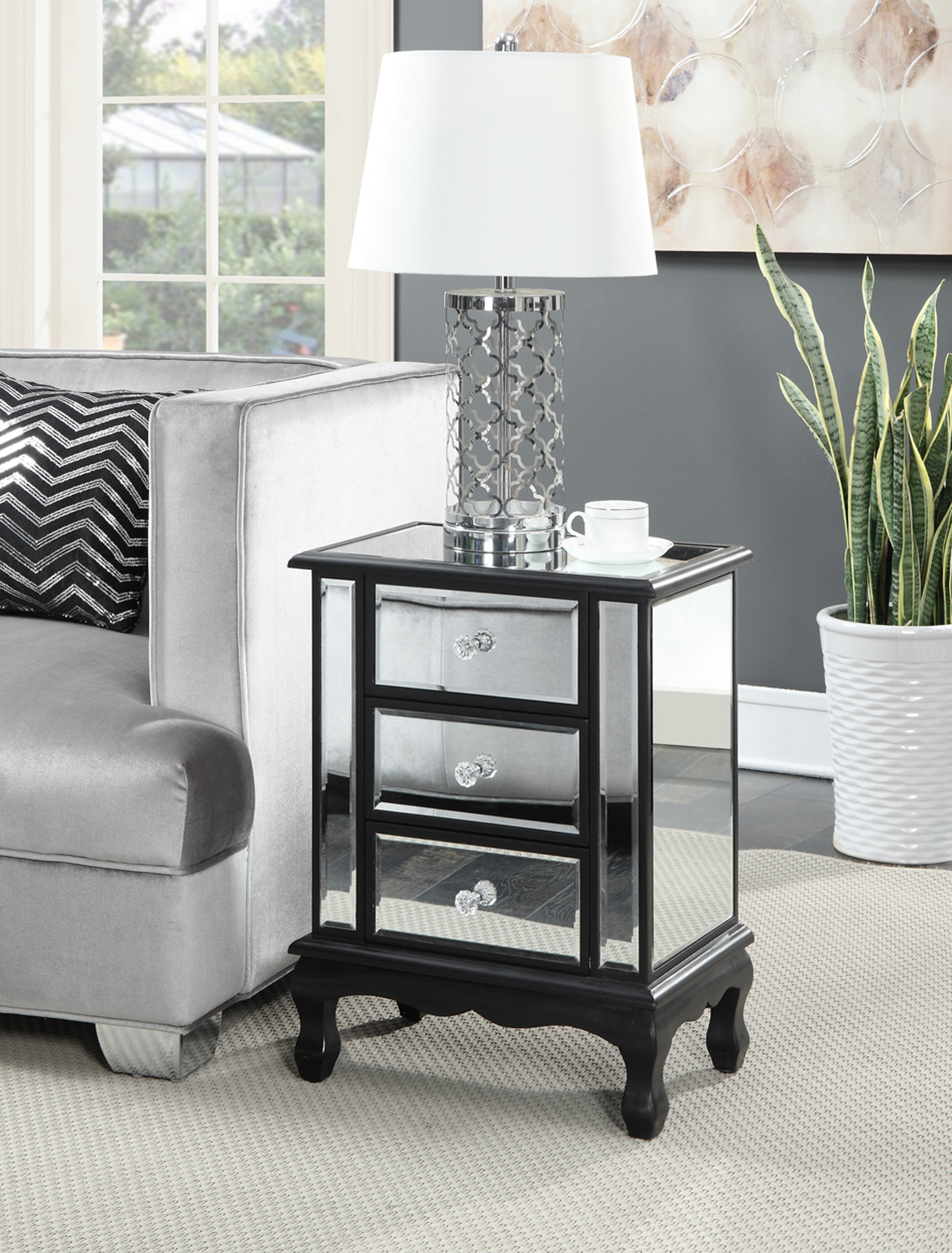 Convenience Concepts Gold Coast Vineyard 3-Drawer Mirrored End Table by Convenience Concepts Inc
