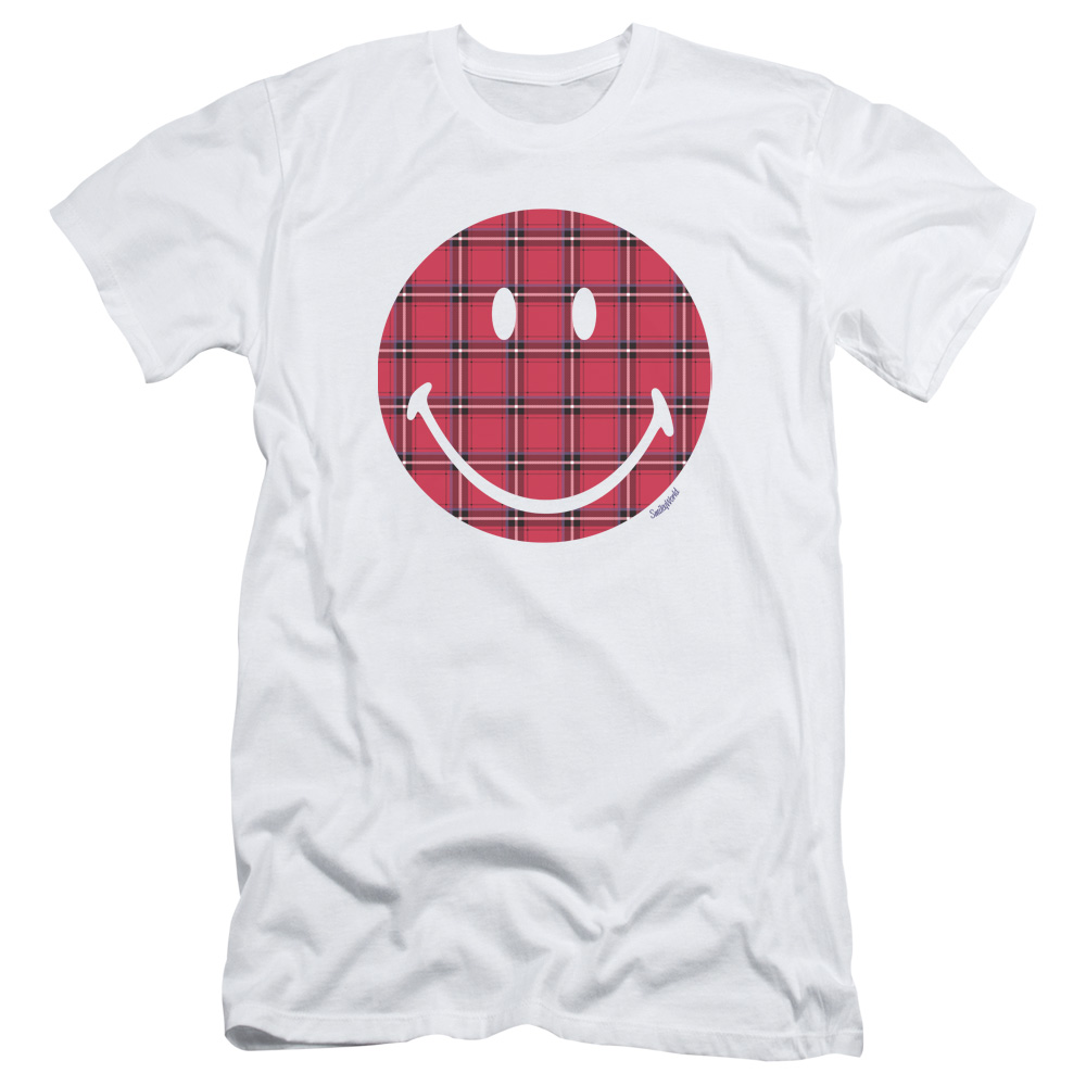 Smiley World Plaid Face Mens Slim Fit Shirt