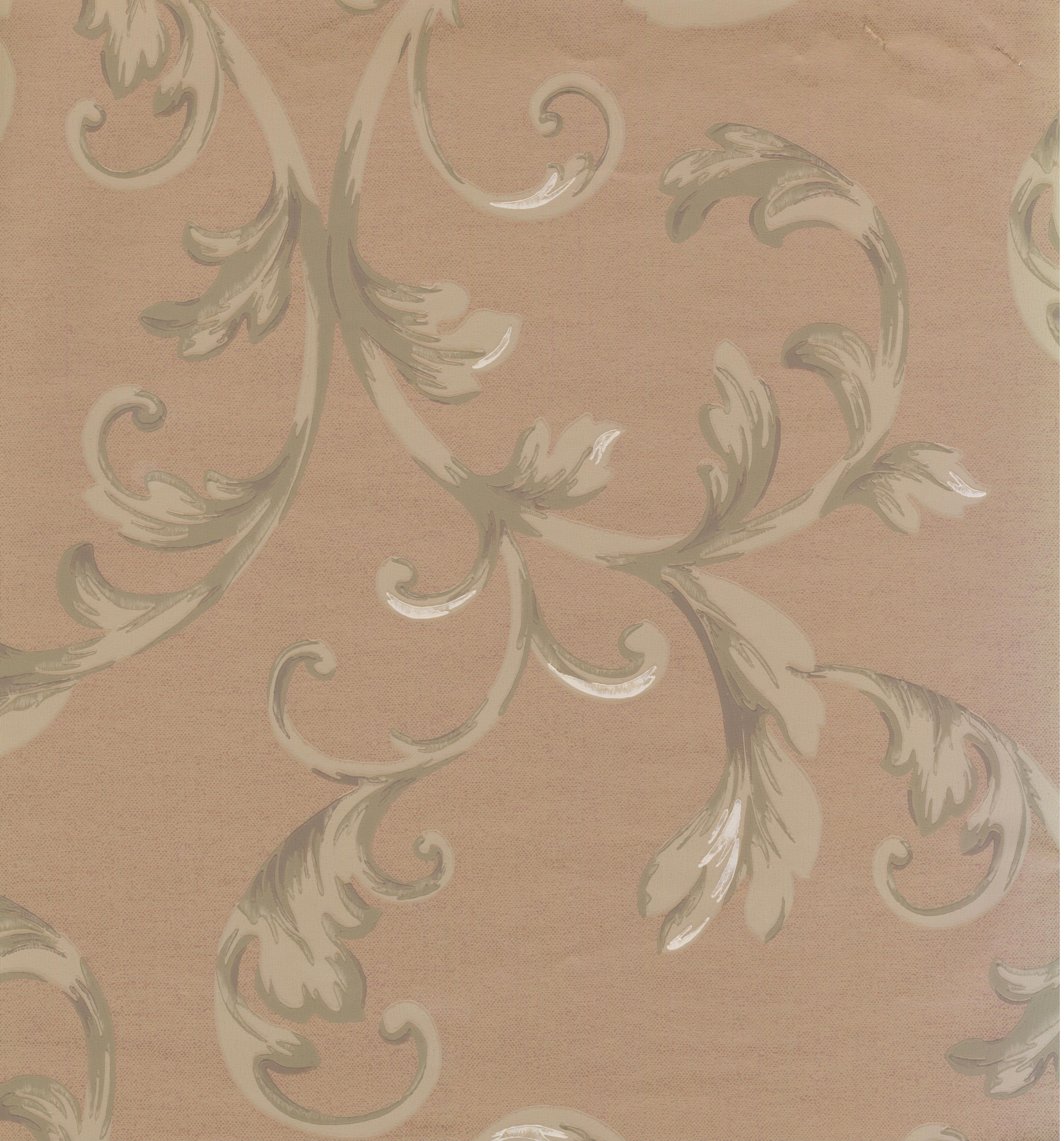 DAMASK - Traditional Prepasted Color Bordo, Beige Wallpaper Roll - image 1 de 1