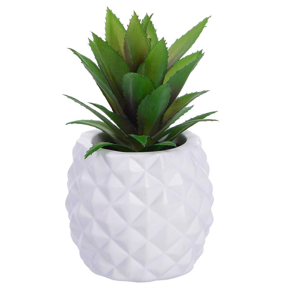 Potted Artificial Succulent Decoration, Fake Pineapple Plant for Home Office Tabletop Decoration (White)