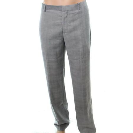 INC NEW Gray Mens Size 38x32 Slim Fit Dress Flat Front Plaid Pants
