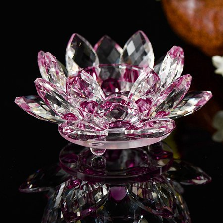 Mosunx 7 Colors Crystal Glass Lotus Flower Candle Tea Light Holder Buddhist Candlestick