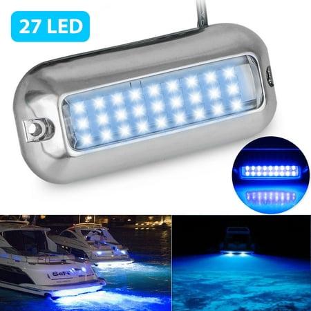 EEEkit Underwater Pontoon Marine Boat Transom Lights Stainless Steel 27 LEDs Blue,use for Marine (Best Used Pontoon Boats)