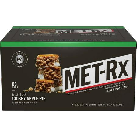 Met Rx Big 100 Bar  31 Grams Of Protein  Crispy Apple Pie   3 52 Oz  9 Ct