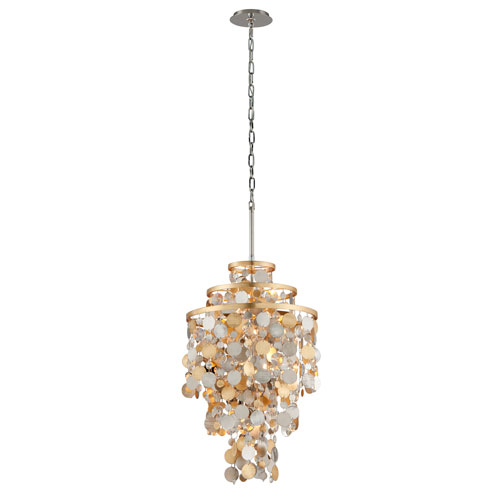 Ambrosia Gold and Silver Leaf Five-Light Pendant