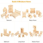 iMounTEK 3D Wooden Dollhouse Furniture Puzzles DIY Miniature Furniture Models Set