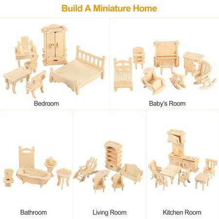 3D Wooden Dollhouse Furniture Puzzles DIY Miniature Furniture Models Set ()