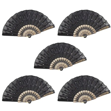 Japanese Fans (Set of 5 Black Chinese Japanese Lace Floral Folding Hand Pocket Fans)
