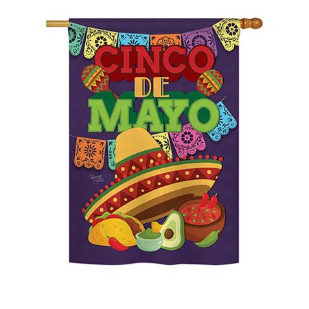 Breeze Decor Cinco De Mayo 2-Sided Polyester 3'4'' x 2'4'' Rectangle - 5 De Mayo Decorations