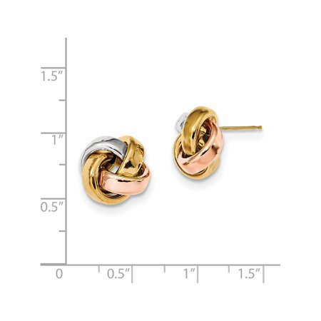 14k Tri-Colored Gold  w/White & Rose Rhod Pol Love Knot Post (13x12mm) Earrings - image 1 de 2