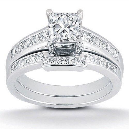 7/8ct Princess Cut Channel Set Diamond Wedding Engagement Ring 14K White Gold