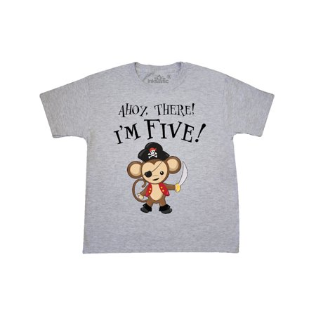 Ahoy, there! I'm Five!- Pirate Monkey 5th Birthday Youth T-Shirt