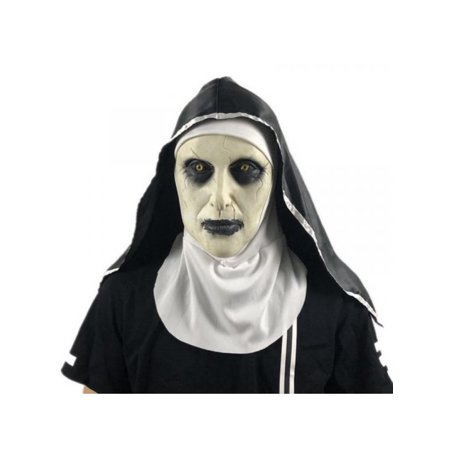 Mickey's Not So Scary Halloween (MarinaVida The Nun Horror Scary Mask Headscarf Valak Halloween Party Cosplay)