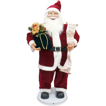 "Fraser Hill Farm 36"" Traditional Dancing Santa with Scroll and Velvet Toy Sack"