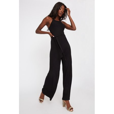 Urban Planet Women's High Neck Ribbed Self Belt Palazzo Jumpsuit - image 2 of 2