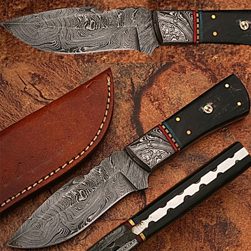 Damascus Steel Custom Handmade Hunting Knife Buffalo Handle 1 by