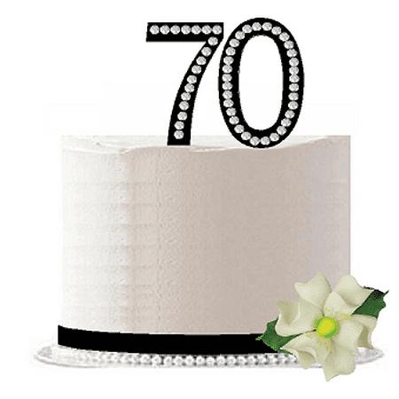 Bling Birthday Decorations (70th Birthday / Anniversary Rhinestone Bling Sparkle Cake Decoration Topper)