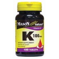 Mason Natural Vitamin K, 100mcg Tablets, 100 Ct