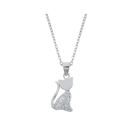 Sterling Silver Cat Necklace Charm With Jewelry Gift Box