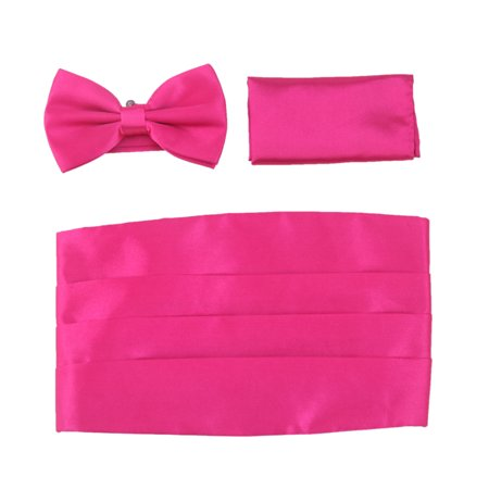 Solid Color Poly-Satin Tuxedo Set - Bow Tie, Cummerbund & Pocket Square (Fuchsia) (Bow Ties In Bulk)