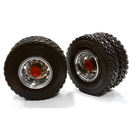 Integy RC Toy Model Hop-ups C26579RED Machined Alloy T5 Rear Dually Wheel & XC Tire for Tamiya 1/14 Scale Trucks