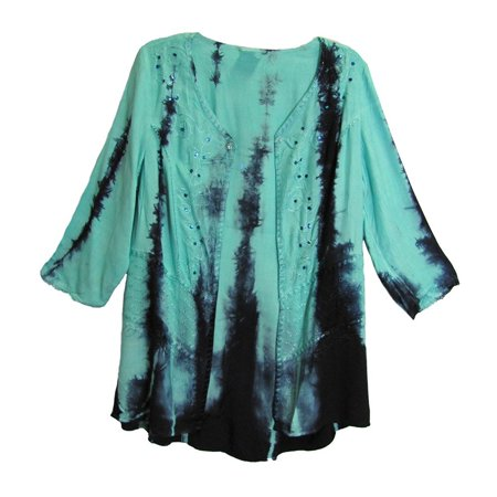 Missy Plus Tie-Dye Renaissance Hippie Bohemian Shrug Bolero Jacket Blouse Blue #2