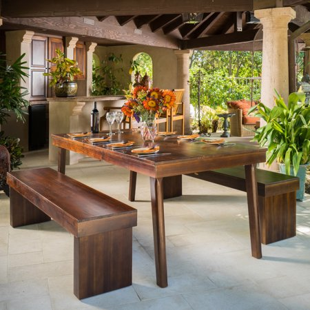 Strange Fairway 3 Piece Wood Table And Bench Set Machost Co Dining Chair Design Ideas Machostcouk